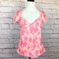 Banana Republic Top Women Medium Pink Floral 100% Silk Blouse