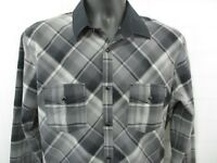 EXPRESS Mens Western Shirt SZ L Gray black plaid pearl snap fitted all cotton