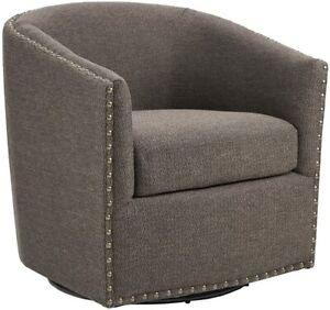 Tyler Swivel Chair Chocolate/Black , NEW