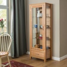 Large Oak Bookcase Tall Display Cabinet Glass Storage Unit Solid Wood Furniture