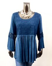 AVENUE *NWT 22/24 (3X) BLUE 3/4 BELL SLEEVES LACE TUNIC