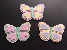 3 pastel felt butterflies, Embellishments. Die cut. Bunting. Box frames. Crafts