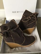 SEE BY CHLOE DARK BROWN ANKLE BOOTS NEW SIZE US 7 EU 37 M