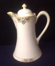 ANTIQUE NIPPON TEA COFFEE CHOCOLATE POT Hand-Painted Gold Beaded  M Wreath Mark