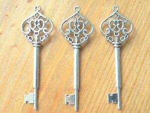 10 20 50 Santa Keys Skeleton Tibetan Silver Large Charm Pendant 69mm (A11)