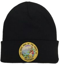 The Great Seal Of State Of California Knit Beanie Color Black Hat