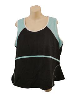 Next Sports Top Size 22 Turquoise Black Bra Support Get Active Plus Sized Vest