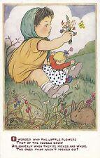 CF100.Vintage Postcard. Phyllis M Purser.Why do picked flowers die? Girl, rabbit