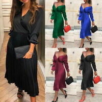 Women Flare Pleated Satin Dress Ladies Long Sleeve Off Shoulder Elegant Skirts