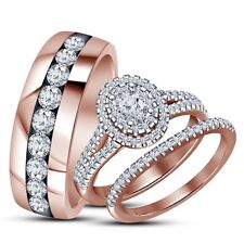 Diamond Engagement Bridal Ring Wedding Trio Set His & Hers Rose Gold Over 2.50CT