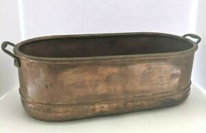 Vintage Copper Oblong Planter/Jardinière Container with Brass Casted Handles