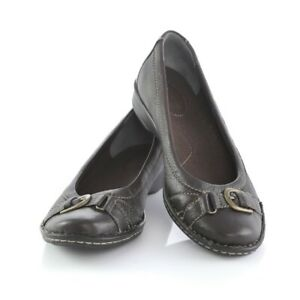 Clarks Bendables Dark Brown Leather Ballet Flats Shoes Buckle Accent Womens 7 M