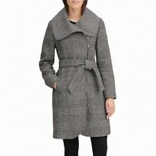 Karl Lagerfeld Women's Coat Black US XS Cozy Houndstooth Belt Trench $242 #404