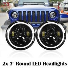 2PCS 7inch Round LED Headlights Halo Angle Eyes DOT For Jeep Wrangler JK LJ TJ