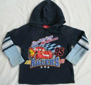 Cars Lightning McQueen Racers Hooded LS long sleeve shirt Blue Disney Boys 5T