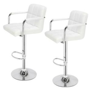 Set of 2 Breakfast Bar Stools Swivel Lift Armchair Leather Kitchen Chair White