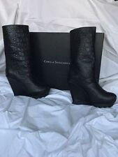 CAMILLA SKOVGAARD Black Tall Saw Wedge Boots SIZE 4/37 Brand New With Box