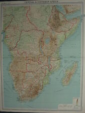 1920 LARGE MAP ~ CENTRAL & SOUTHERN AFRICA CAPE COLONY MADAGASCAR RHODESIA
