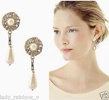 New Fashion Charm Elegant Rhinestone Flower Pearl Water Drop Dangle Earring Stud