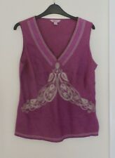 MONSOON - EMBROIDERED 100% LINEN TOP / BLOUSE - SIZE 14 - GOOD USED CONDITION