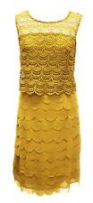 Womens Bnwt Size 10 - 16 Mustard Crochet Lace Yoke Scallop Occasion Dress £99