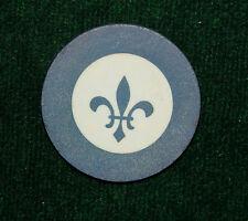 Vintage Antique Blue Fleur de Lis Clay Poker Chip