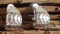 Vintage Napier Silver Tone Hoop Clip On  Earrings
