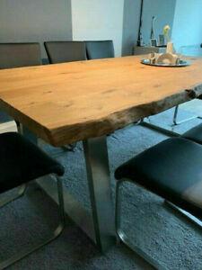 Tisch Waschtisch Massivholz Eiche Eichenplatte Unikate Stärke 5,5cm Baumkante