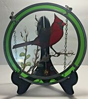 Vintage 1970s Stained Glass Suncatcher Red Cardinal by Glass Masters