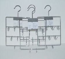 Lot  3 Threshold Belt & Tie Hangers Chrome Finish Holds 14 Ties and 4 Belts Each