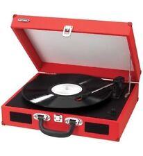 Jensen Portable 3-Speed Stereo Turntable w/ Built-in Speakers RED JEN-JTA-410-RE