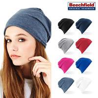 Jersey slouch Beanie - Beechfield Stretch cotton hair casual/gym hat men/women