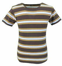 Mens Brown 60s 70s Retro Mod Striped T Shirt