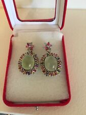 Green Prehnite and Fancy Sapphire 925 sterling silver earrings