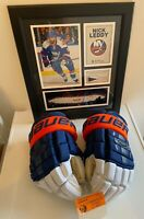 New York Islanders Nick Leddy Game Used Gloves + Game Used Puck framed Photo