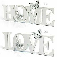LARGE WHITE SHABBY CHIC BUTTERFLY DIAMANTÉ PLAQUE GIFT HOME ORNAMENT DECOR NEW