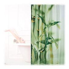 Relaxdays cortina de ducha Diseño Bambú Poliéster textil lavable planta ...