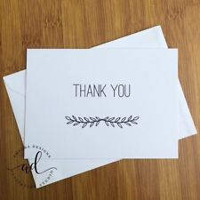 10 Pack - Thank You Cards Kraft or white Card with Matching Envelopes C6 Size