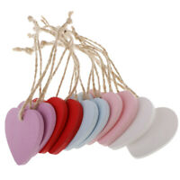 10X Wooden MDF heart shape cutout blank tag for craft, bunting and garland holes