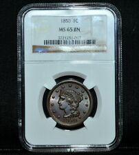 1850 BRAIDED HAIR LARGE CENT ✪ NGC MS-65 ✪ 1C BN BROWN GEM UNC L@@K NOW◢TRUSTED◣