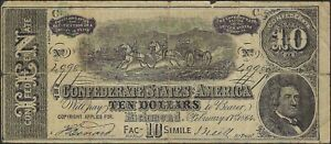 $10 Confederate facsimile advertising currency February 17th, 1864.