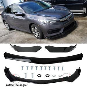 For Honda Civic Accord Front Bumper Lip Spoiler Splitter Body Kit Glossy Black A