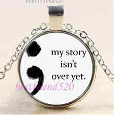 My Story isn't over yet; Cabochon Glass Tibet Silver Chain Pendant Necklace