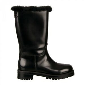 Dolce & Gabbana Logo Leather Boots Biker Black 07936