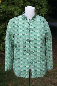 Vintage Peony Brand Green Silk Jacket Shanghai China Medium Top Frog Closures m1