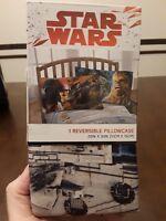 "DISNEY STAR WARS REVERSIBLE GRAPHIC PILLOWCASE 20"" x 30"" NEW IN BOX"