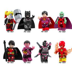 8Pcs DC Super Heroes Batman Superman Deathtroke The Flash Minifigures Fit Lego