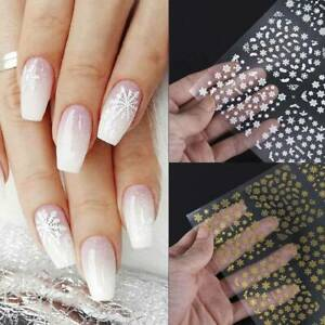 Nail Art 3D Decal Stickers Snowflakes White or Gold Self-adhesive Nail Stickers