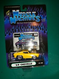 Muscle Machines Yellow '69 Chevy Chevelle 01-30 Die Cast 1:64 Scale