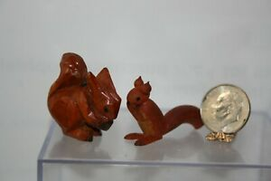 Miniature Dollhouse Pair Vintage Handcarved Red Squirrels One w Nut :o) 1:12 NR